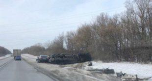 Натрассе М-4 «Дон» перевернулся грузовик (фото)