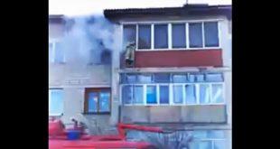Пожар в квартире попал на видео