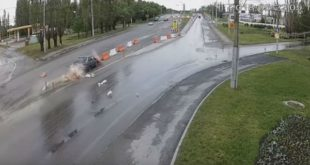 «Утро начинается нескофе». ДТП врайоне Петровского моста вЛипецке сняли камеры наблюдения