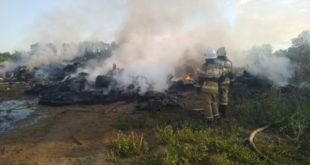 Липецкие пожарные, рискуя жизнью, потушили огонь на Ниженке (ВИДЕО)