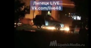 Липчанин поджег полицейскую машину «коктейлем Молотова» (видео)